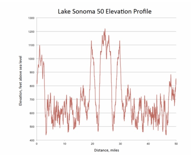 The LS50 elevation profile, with about 10,500 feet of climbing, featuring three big hills in the middle bookended by relentless rollers.