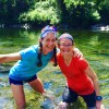Clare and me cooling off in the river during the Western States Memorial Weekend training run. This is the river we'll cross at Mile 78, probably around 10:30 - 11 p.m. Saturday night.