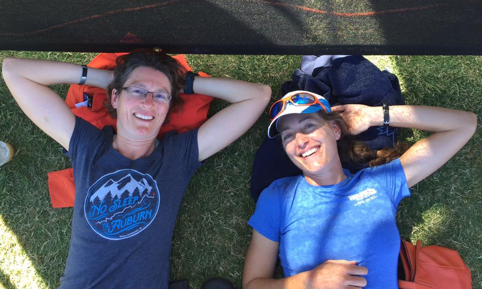 Clare and me relaxing at the WS100 finish