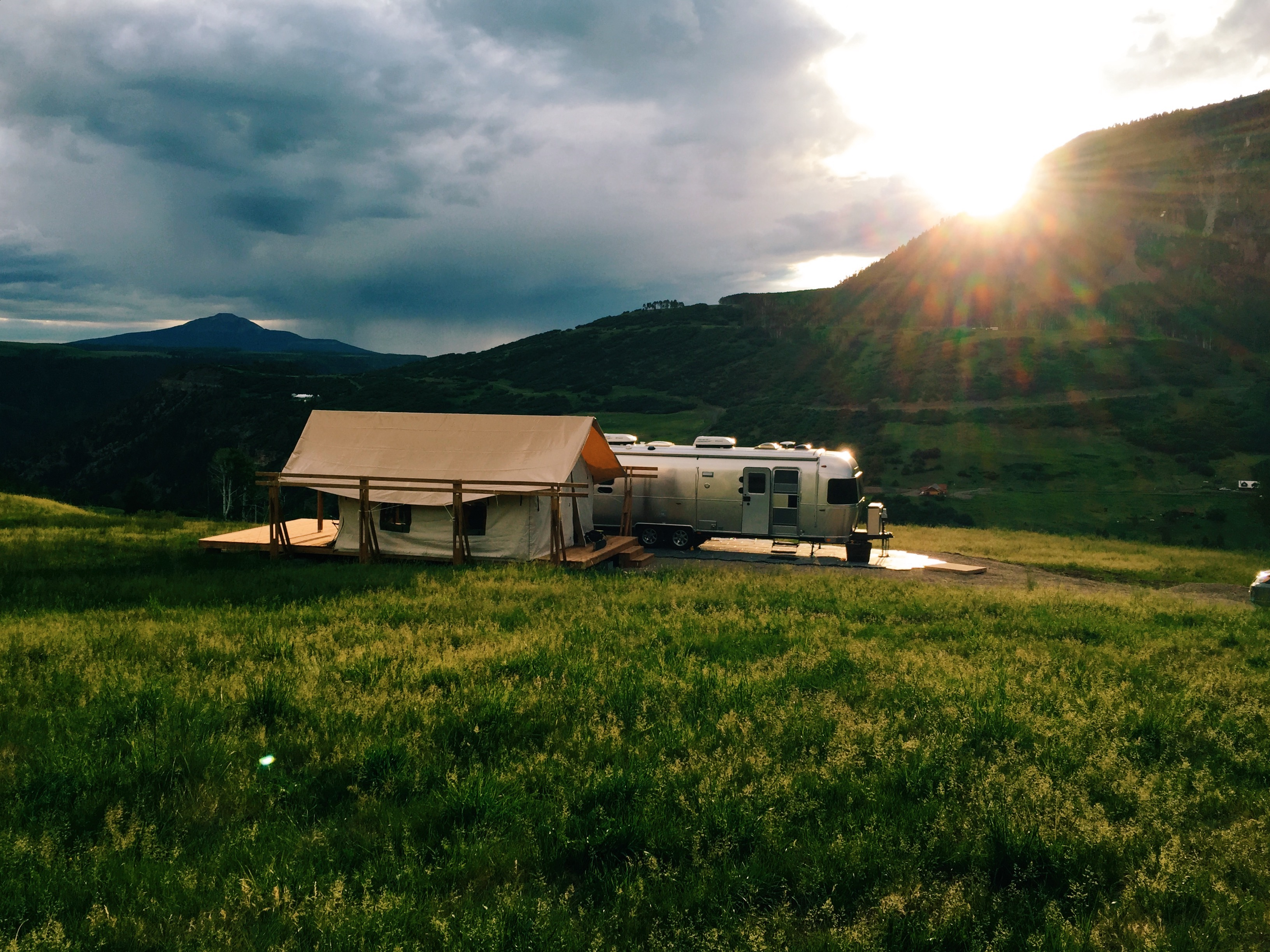 canvast tent and airstream
