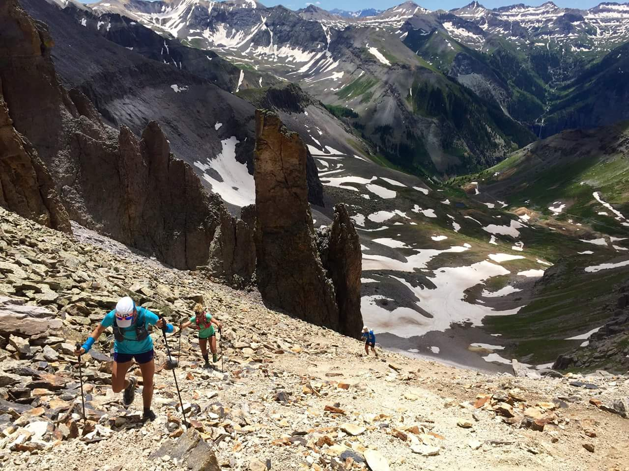 That's me in front, ascending Virginius Pass on a Hardrock 100 training run in early July with Katie DeSpinter Grossman and Scott Mills. The trekking poles become even more helpful on the way down on a scree and talus field like that!