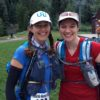This pic of me with my friend Yitka, at the Telluride Mountain Run start, shows my folded-up trekking pole held through the two loops on the side of the UD Adventure Vesta.