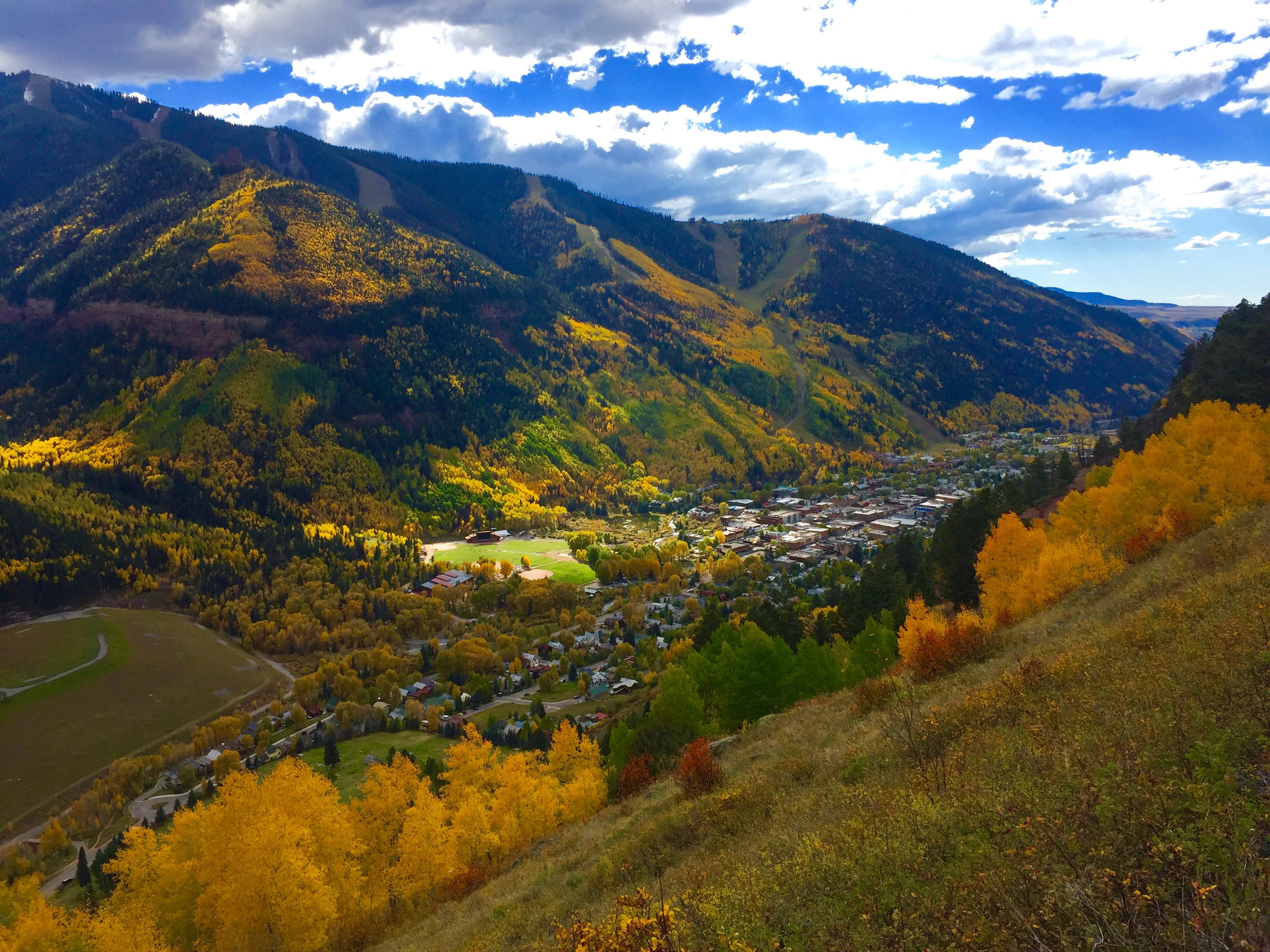 Looking down on the town of Telluride from Tomboy Road this past week.