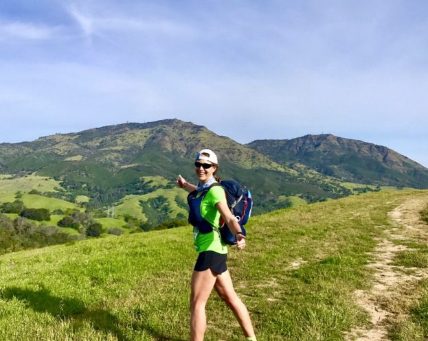 About a third of the way into the April 15 Diablo 50K, with those two peaks in the background still to summit, running and hiking with a 20lb. pack for stage-race training.