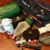 All my gear for sleeping, safety, hydration and eating.